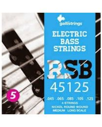 GALLI STRINGS RSB45125 MUTA CORDE PER BASSO 5 CORDE 45/125 NICKEL REGULAR ROUNDWOUND LONG SCALE