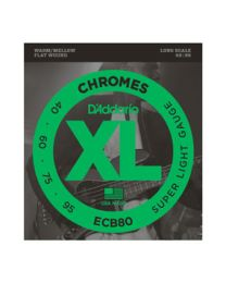 D'ADDARIO ECB80 CHROMES BASS, LIGHT 40/95 LONG SCALE MUTA BASSO FLATWOUND LISCIE