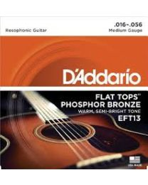 D'ADDARIO EFT13 FLAT TOP MEDIUM MUTA CORDE CHITARRA ACUSTICA 6 CORDE RESOFONICA 016/056 WARM SEMI BRIGHT