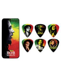 Dunlop BOB PT02H Bob Marley Rasta Man Pick Tin with 6 Heavy Picks KIT plettri
