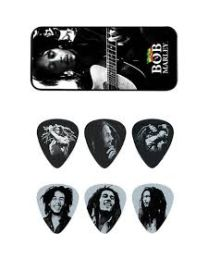 Dunlop BOBPT03M Bob Marley Silver Pick Tin with 6 Heavy Picks KIT 6 PLETTRI