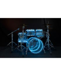 PEARL DRUM LITE K1D FULL KIT A DOPPIO LED PER BATTERIE CON FUSTI IN ACRILICO E LEGNO