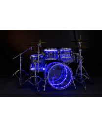 PEARL DRUM LITE K2D FULL KIT A DOPPIO LED PER BATTERIE CON FUSTI IN ACRILICO E LEGNO
