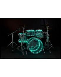 PEARL DRUM LITE K4D FULL KIT A DOPPIO LED PER BATTERIE CON FUSTI IN ACRILICO E LEGNO