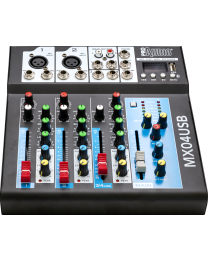 PROAUDIO MX04USB 4 in - 2 out audio mixer. MP3 player, Bluetooth. Headphone output.